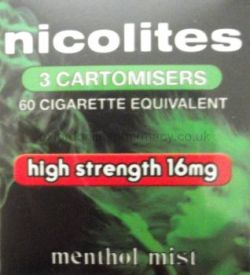 Nicolites 16mg Menthol Flavour 3 Cartomisers