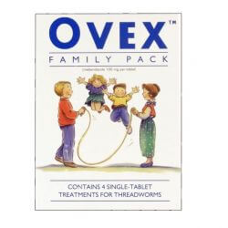 Ovex (Mebendazole) 100mg Family Pack 4 Tablets