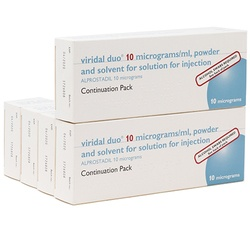 5 x Viridal (Alprostadil) Duo 10mcg/ml 2 Injections Continuation Pack