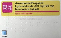 Atovaquone/Proguanil 250mg/100mg 12 Tablets