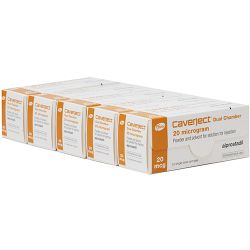 5 x Caverject (Alprostadil) 20mcg/0.5ml Dual Chamber 2 Injections