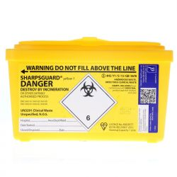 Yellow Sharps Box Nominal Capacity 1 Litre